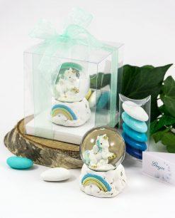 bomboniera palla di neve con unicorno e arcobaleno azzurro scatola pvc e fiocco tiffany