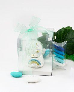 bomboniera palla di vetro con unicorno bianco e arcobaleno