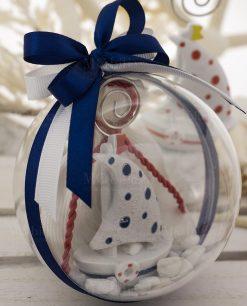 bomboniera palla sfera trasparente con barchetta a vela portamemo pois blu su sacchetto bianco