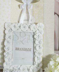 bomboniera portafoto primule bianco con bag e fiocco brandani