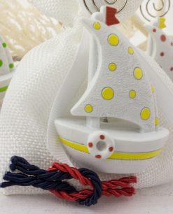 bomboniera portamemo barchetta pois su sacchetto bianco con nodo