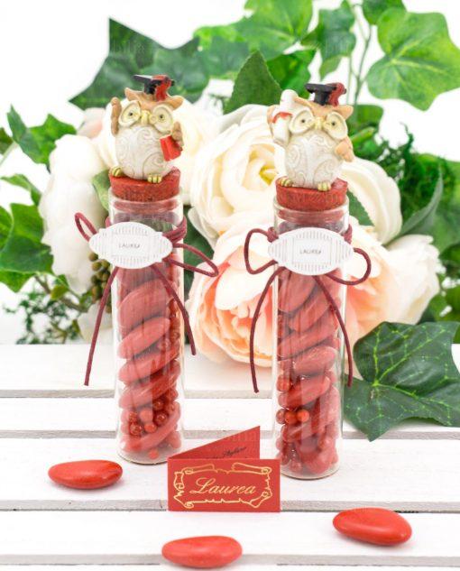 bomboniera provetta vetro con tappo sughero rosso gufetto con tocco pergamena e libro