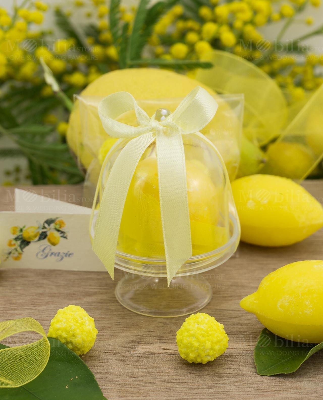Bomboniera alzatina pvc con saponetta a forma di limone ...