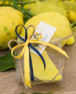 bomboniera saponetta limone spicchio con scatola pvc