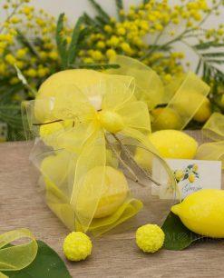 bomboniera scatola trasparente con saponetta limone
