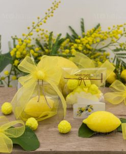 bomboniera scatola trasparente pvc con saponetta profumata limone