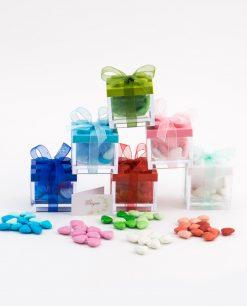 bomboniera scatolina lego mattoncino verde blu azzurro rosa roso e bianco con confetti smarties cuoricino