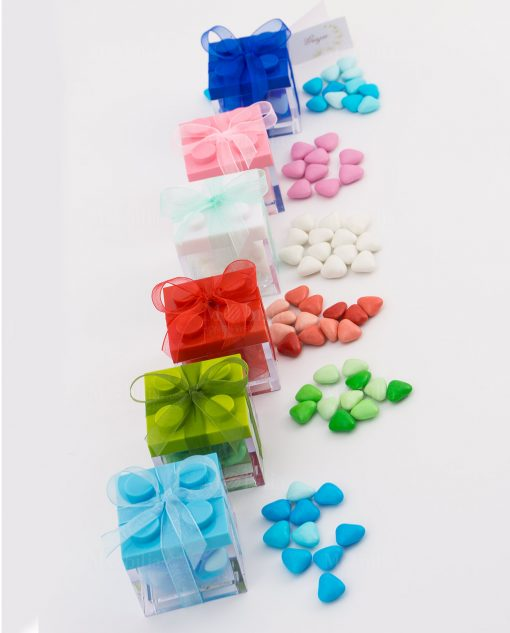 bomboniera scatolina portaconfetti lego vari colori smarties cuoricini abbinati