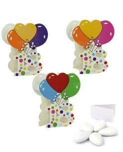bomboniera scatoline portaconfetti con numero diciotto e pallincini colori assortiti