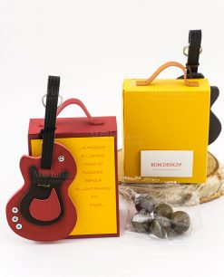 bomboniera shopper alta con portachiave chitarra colori assortiti linea music rdm design