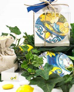 bomboniera sottobicchiere baroque and rock sicily blu con scatola trasparente baci milano