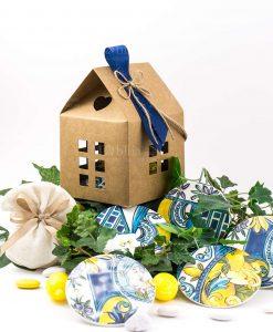 bomboniera sottobicchiere con scatola casetta decori assortiti set da 6 linea baroque and rock sicily blu baci milano