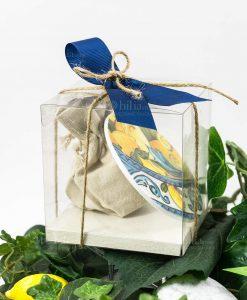 bomboniera sottobicchieri baroque and rock sicily blu con scatola pvc e sacchettino juta baci milano