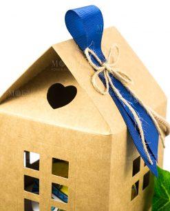 bomboniera sottobicchieri linea baroque and rock sicily blu dettaglio fiocco cordoncino e nastro blu su scatola casetta