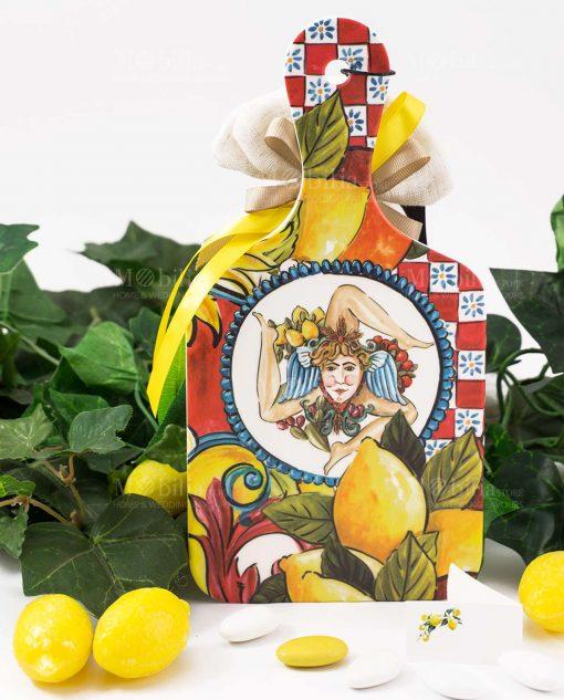 bomboniera tagliere baroque and rock sicily red baci milano con sacchetto portaconfetti juta