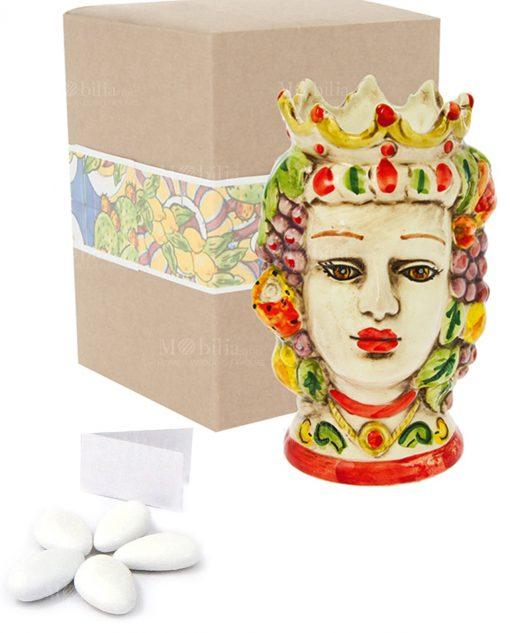 bomboniera testa di moro donna grande ceramica