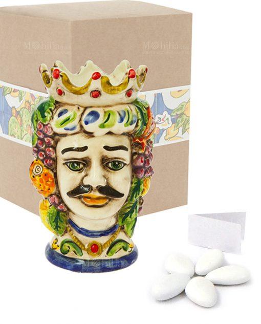 bomboniera testa di moro uomo grande ceramica