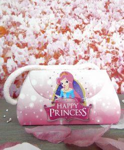 borsa di cartoncino rosa con principessa