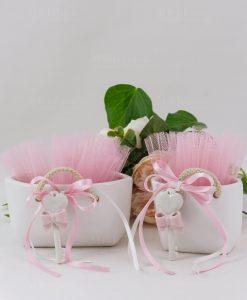 borsetta grande e borsetta piccola porcellana con chiave tulle rosa e nastri linfinito