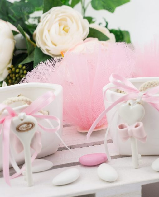 borsetta porcellana con tulle rosa linfinito