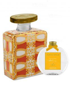 bottiglia 375 ml quadrata linea gold modello alanis con fragranza da 250 ml baci milano