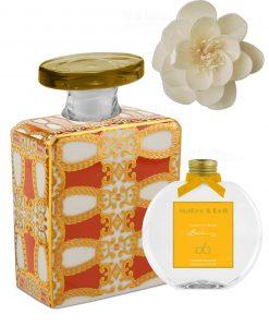 bottiglia 375 ml quadrata linea gold modello alanis con fragranza da 250 ml e fiore baci milano