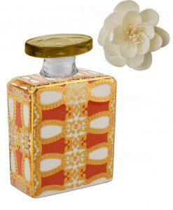 bottiglia da 375 ml quadrata linea gold modello alanis con fiore baci milano