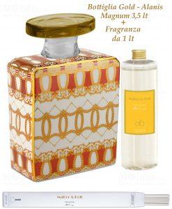 bottiglia magnum 35 lt quadrata linea gold modello alanis con fragranza da 1 lt baci milano