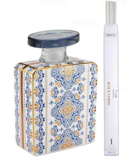 bottiglia magnum 35 lt quadrata linea gold modello gianna con bastoncini baci milano