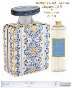 bottiglia magnum 35 lt quadrata linea gold modello gianna con fragranza da 1 lt baci milano