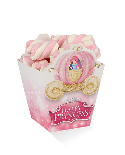 box cartoncino rosa porta pop corn medio principessa