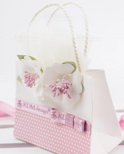 bustina portaconfetti cartoncino rosa e bianco con fiori linea blush rdm design