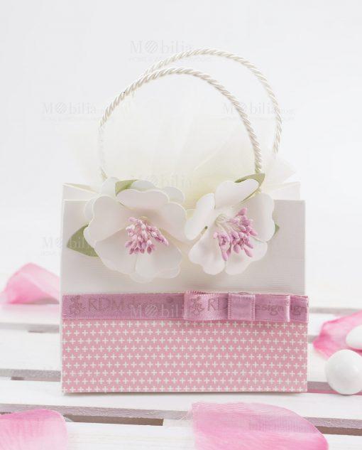 bustina portaconfetti con fiori bianchi linea blush rdm design