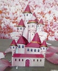 castello cartoncino rosa per party principesse