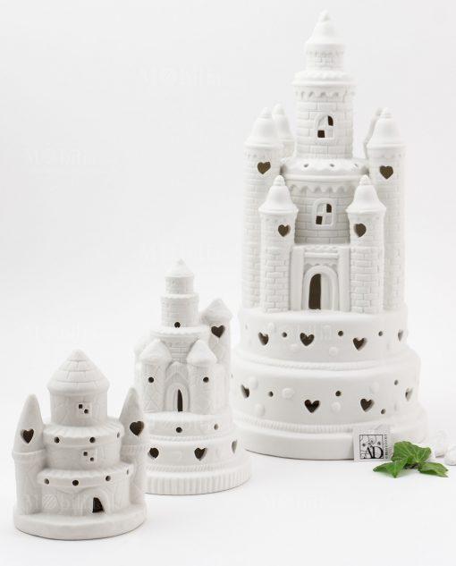 castello led porcellana bianca con cuori varie misure linea princess ad emozioni