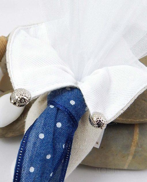 cono portaconfetti colletto con cravatta blu a pois bianchi con tulle cherry and peach