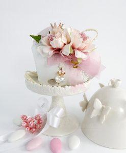 cuscino cuore portaconfetti con fiori e corona con ciondolo corona linea queen cherry and peach