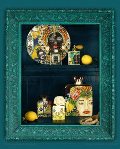 diffusori di fragranza con fiore e profumo piatto con testa di moro linea baroque and rock sicily baci milano