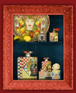 diffusori di fragranza con fiore e profumo piatto con testa di moro linea baroque and rock sicily red baci milano