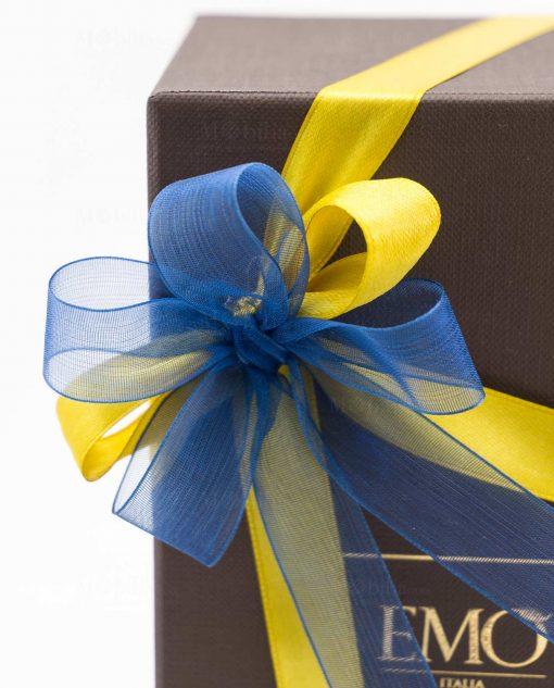 fiocco scatola blu con giallo blu art collection emò