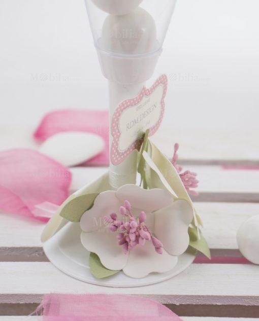 flute portaconfetti dettaglio fiori bianchi cartoncino linea blush rdm design