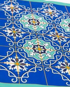 foulard blu azzurro e giallo con stampa mattonella art conllection linea azalejos emò italia