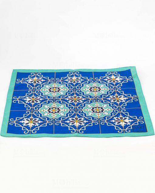 foulard blu con fantasia mattonella art collection linea azalejos emò italia
