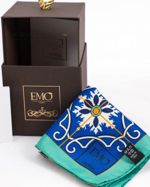 foulard blu con scatola art collection linea azalejos emò italia