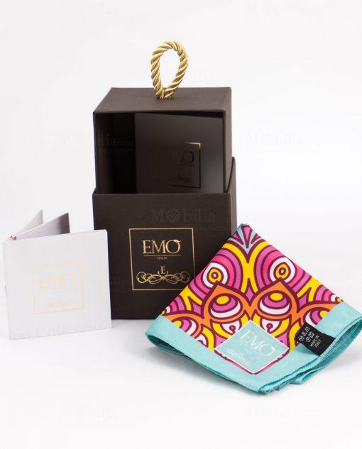 foulard celeste e rosa con scatola e certificato autenticità art collection linea kaleidos emò italia