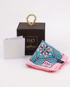 foulard rosa e celeste con decoro floreale con scatola e certificato autenticità art collection linea maiolica