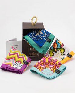 foulard vari colori vari decori con scatola e certificato di garanzia art collection emò