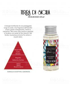 fragranza da 50 ml per diffusore linea maroc e roll fragranza terre di siclia baci milano