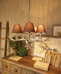 lampadario a sospensione con corna cervo metallo modello st moritz orchidea milano
