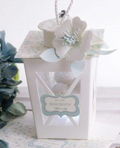 lanterna cartoncino led portaconfetti con fiore linea sweet memory rdm design